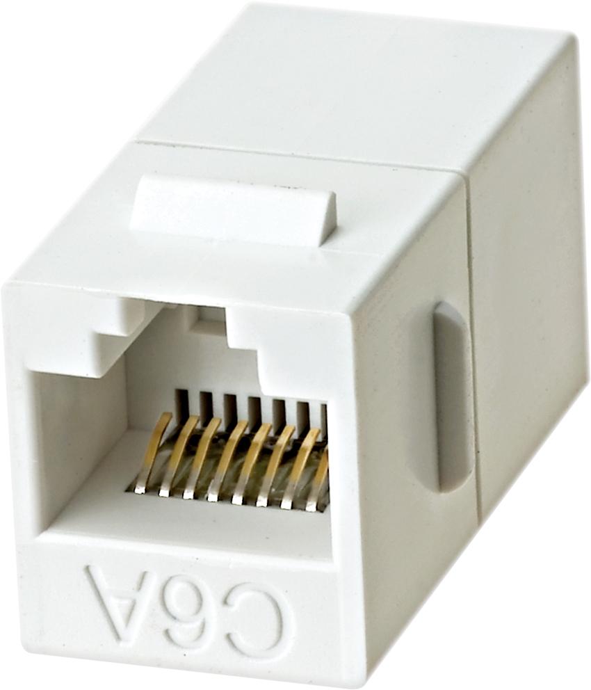 180° RJ45 Cat 6A UTP Feed-Through Keystone Coupler - 180° UTP Feed-Through Straight Keystone Type Coupler
