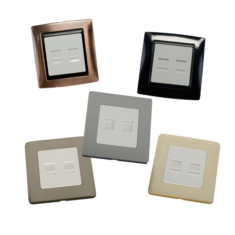 Plaque frontale à 2 ports en plusieurs matériaux - Plaque frontale à 2 ports en plusieurs matériaux