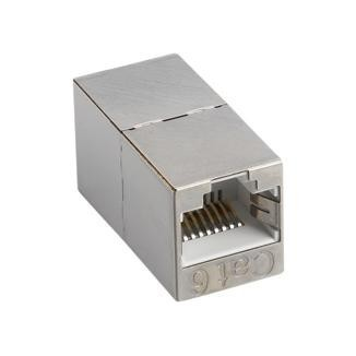 180° RJ45 Cat 6A STP Feed-Through In-Line Coupler - 180° STP Feed-Through Straight In-Line Type Coupler