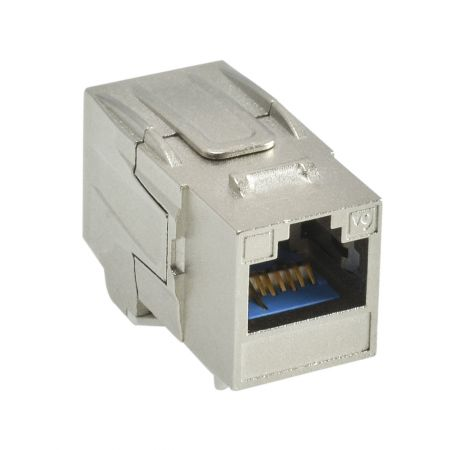 180° RJ45 Cat 6A STP Feed-Through Keystone Coupler - 180° STP Feed-Through Straight Keystone Type Coupler