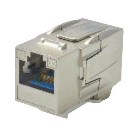 180° RJ45 Cat 6A STP Feed-Through Keystone Coupler