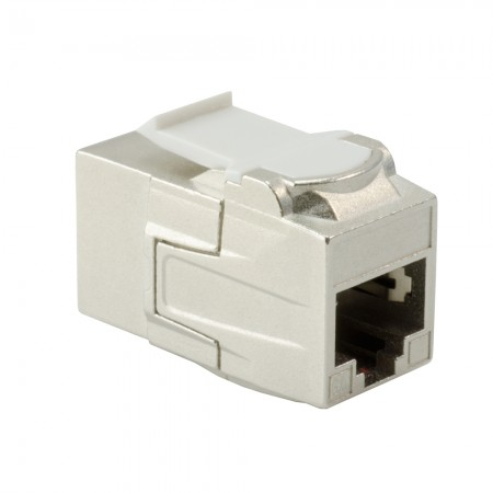 180 ° RJ45 Cat 6A STP Feed-Through Keystone Coupler - 180 ° STP Feed-Through Lurus Keystone Type Coupler