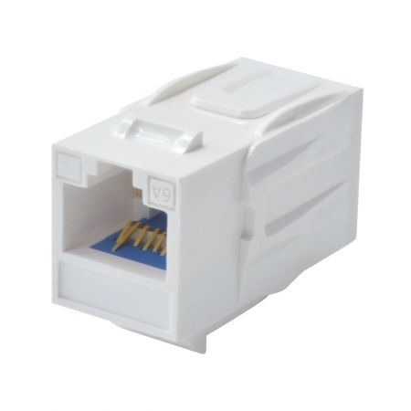 180° RJ45 Cat 6A UTP Feed-Through Keystone Coupler - 180° UTP Feed-Through Straight Keystone Type Coupler