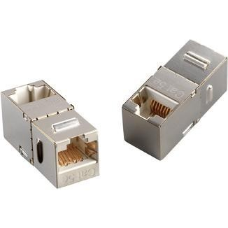 90° RJ45 Cat 6A STP Feed-Through Keystone Coupler - 90° STP Feed-Through Straight In-Line Type Coupler