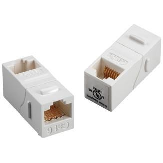 90° RJ45 Cat 6A UTP Feed-Through Keystone Coupler - 90° UTP Feed-Through Straight Keystone Type Coupler