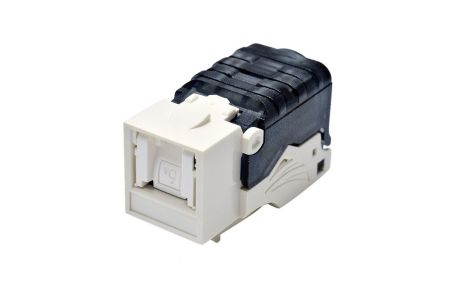 Tolless w/Shutter - Cat6A Component Level 90° UTP Toolless Keystone Jack with Shutter