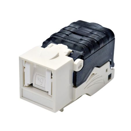 Cat 6A Component Level 90° Toolless Keystone Jack with Shutter - Cat6A Component Level 90° UTP Toolless Keystone Jack with Shutter