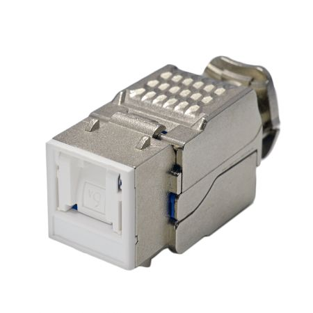 Cat 6A Component Level 90° STP Toolless Keystone Jack  with Shutter - Cat6A Component Level 90° STP Toolless Keystone Jack with Shutter