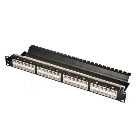 1U 48 Port STP ISO/IEC Cat 6A Feed-Through Patch Panel  w/ Built-in Wire Management