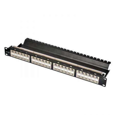 Panneau de chemin de traversée 1U 48 ports STP avec gestion des fils intégrée - Panneau de traversée blindé ISO 11801 Classe EA 48 ports-1U avec gestion des câbles intégrée