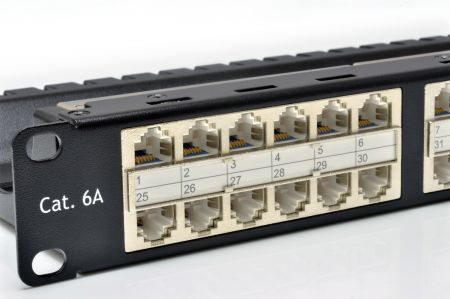 Shielded Feed-Through - Shielded ISO 11801 Class EA 48 port-1U feed-through panel with built-in wire management
