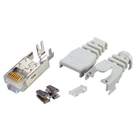 Multi-Piece Type RJ45 Plug for Cat 6A STP Solid Round Cable (Boot included)