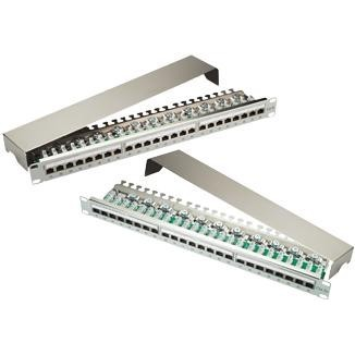 1U 24-Port STP Modular Patch Panel dengan Gasket Shielding Shielding