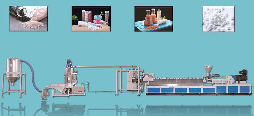 高產能押出機能處理多種塑膠原料,適用於各種塑膠與添加劑 MasterBatch / 混鍊 / 染色製粒。