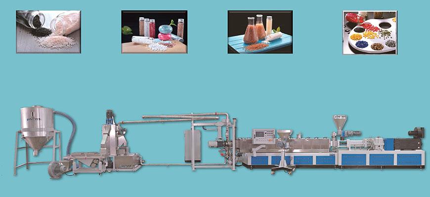 高產能押出機能處理多種塑膠原料,適用於各種廢料回收與染色製粒。