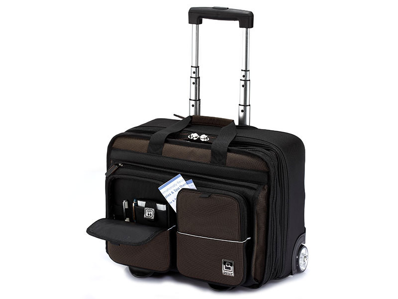 Business Laptop Briefcase with 2 Wheels - Carry-On Business Luggage.