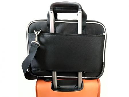 Back zipper pocket strapped onto a luggage retractable handle.