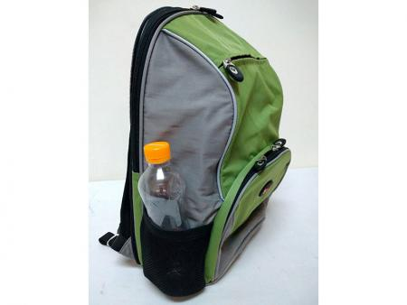 Removable small backpack's side mesh water bottle pockets.