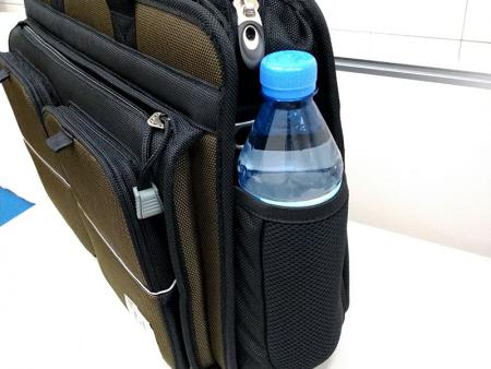 Mesh water bottle pockets on each side.