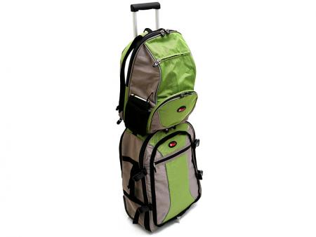 Small backpack strapped onto the main bag.