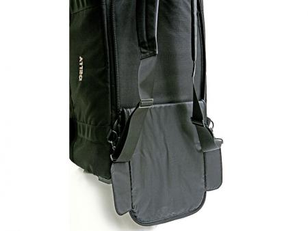 Removable shoulder strap on the bottom to be used as shoulder straps for carrying the bag like a backpack.