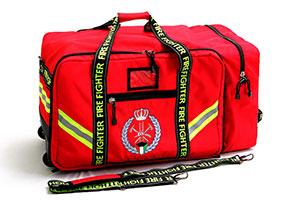 Feuerwehrmann-Ausrüstungstasche auf Rädern