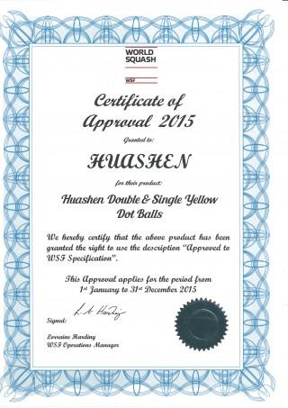 Certificat de la Fédération mondiale de squash (WSF) 2015
