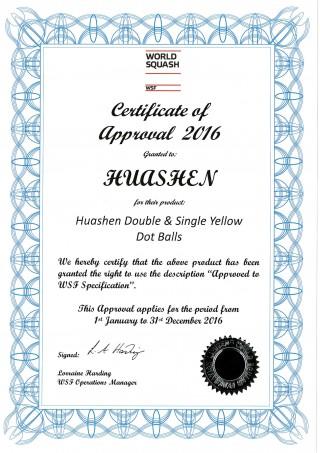 वर्ल्ड स्क्वैश फेडरेशन (डब्ल्यूएसएफ) 2016 का प्रमाण पत्र