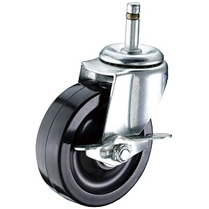 "3"" x 1-1/4"" Friction Ring Stem Casters With Hard Rubber Wheels - 3"" x 1-1/4"" Friction Ring Stem Casters With Hard Rubber Wheels"