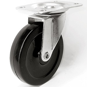 """4"""" x 7/8"""" Swivel Top Plate Casters With Soft Rubber Wheels - 4"""" x 7/8"""" Swivel Top Plate Casters With Soft Rubber Wheels"""