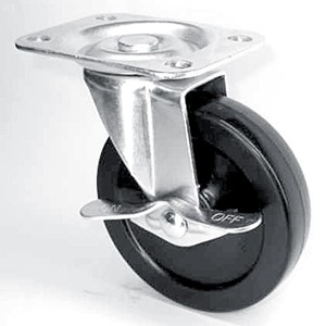 """4"""" x 7/8"""" Swivel Top Plate Casters With Hard Rubber Wheels - 4"""" x 7/8"""" Swivel Top Plate Casters With Hard Rubber Wheels"""
