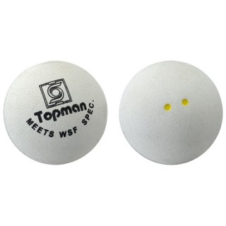 Double Yellow Dot White Squash Balls - White Squash Balls (Double Yellow Dot)