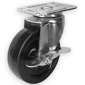 "4"" x 1-1/4"" Swivel Top Plate Casters With Hard Rubber Wheels - 4"" x 1-1/4"" Swivel Top Plate Casters With Hard Rubber Wheels"