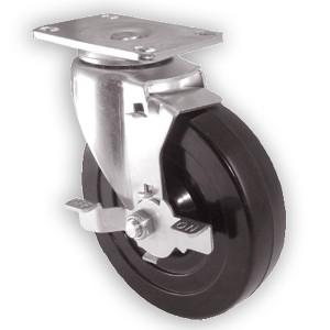 """Zwenkwielen van 5 """"x 1-1 / 4"""" met zwenkwielen met harde rubberen wielen - Zwenkwielen van 5 """"x 1-1 / 4"""" met zwenkwielen met harde rubberen wielen"""