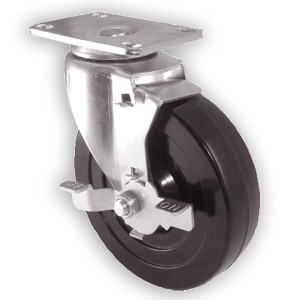 "5"" x 1-1/4"" Swivel Top Plate Casters With Hard Rubber Wheels - 5"" x 1-1/4"" Swivel Top Plate Casters With Hard Rubber Wheels"