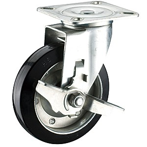 150mm x 42mm Swivel Top Plate Casters With Soft Rubber Wheels - 150mm x 42mm Swivel Top Plate Casters With Soft Rubber Wheels