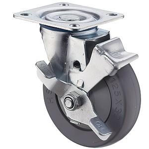 """5 """"x 1-1 / 4"""" zwenkwielen met bovenplaat met grijze rubberen wielen - 5 """"x 1-1 / 4"""" zwenkwielen met bovenplaat met grijze rubberen wielen"""