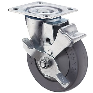 """5"""" x 1-1/4"""" Swivel Top Plate Casters With Gray Rubber Wheels - 5"""" x 1-1/4"""" Swivel Top Plate Casters With Gray Rubber Wheels"""