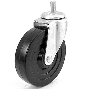 "5"" x 1-1/4"" Threaded Stem Casters With Soft Rubber Wheels - 5"" x 1-1/4"" Threaded Stem Casters With Soft Rubber Wheels"