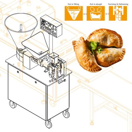 Automatické výrobné zariadenie Sambousek navrhnuté s prispôsobenou polovičnou rotačnou formou