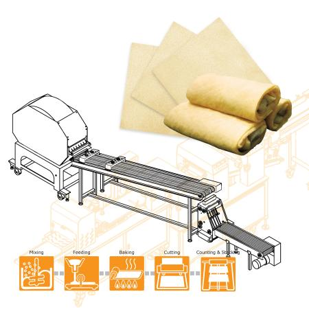 Attrezzatura semiautomatica per la produzione di Blini progettata con impilatore per pancake morbidi