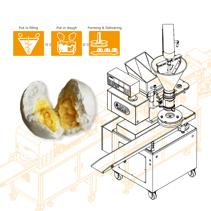 使用する ANKO 蒸しカスタードパンを製造する食品機械