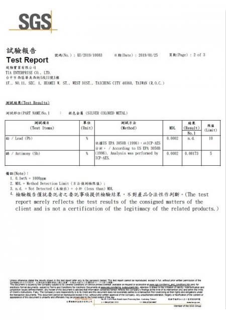 Green-Tak FA-01 stainless steel faucet SGS lead free test report.