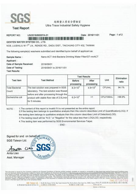 Green-Tak GT quick change filter bacteria removal SGS report.