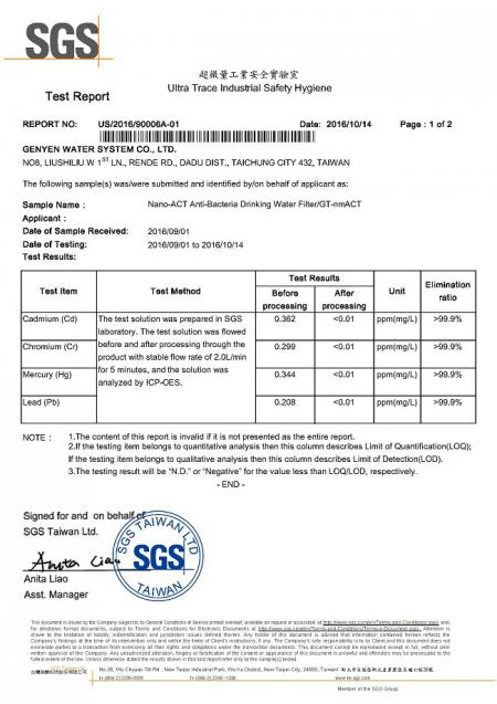 Green-Tak GT quick change filter heavy metals removal SGS report.