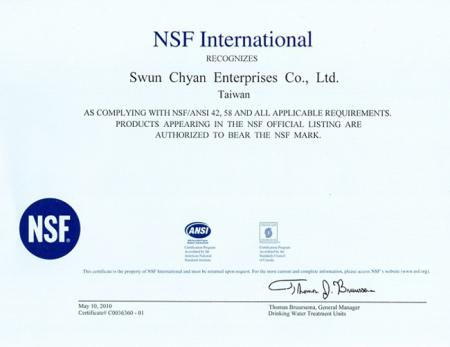 Made in Taiwan PP Filter NSF certificate.