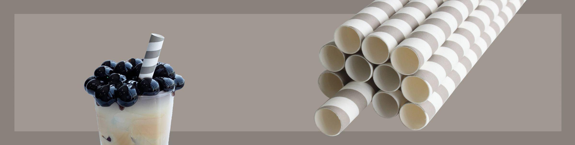 Papierowa słomka do herbaty bąbelkowej Szary projekt w paski