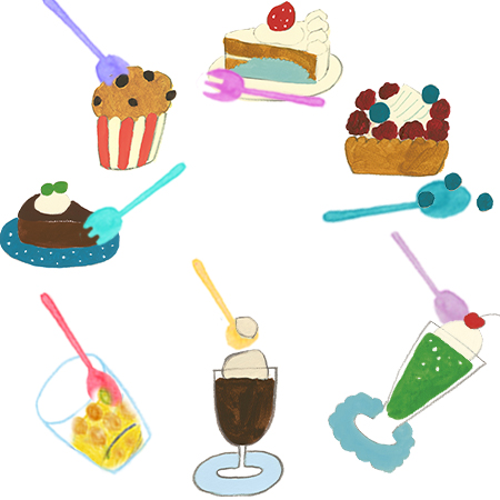 Cutlery application - the color spoon can eat cake or ice cream
