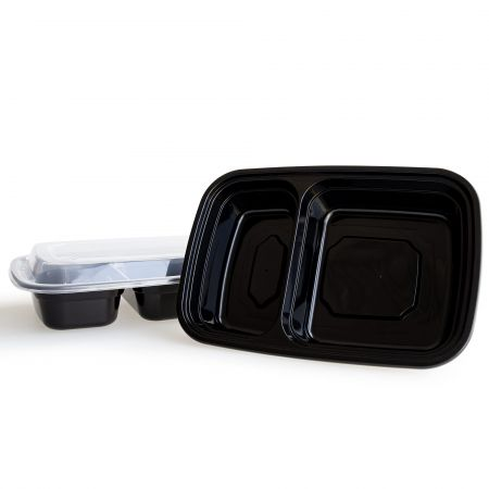 28oz 2-Cell Rectangle Food Container(840ml) - 840ml Heat-resistant  2-Cell Plastic Rectangle Food Container