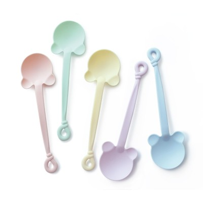 14cm Pastel Dessert Spoon With Bear Shape - Wholesale supplier for pastel desgin plastic PP material spoon, provide to build custom cutlery.